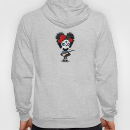 Day of the Dead Girl Playing Estonian Flag Guitar Hoody
