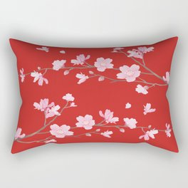 Cherry Blossom - Red Rectangular Pillow