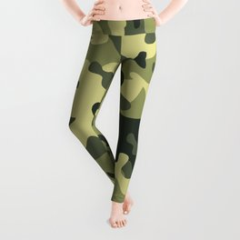 Green Tan Black Camouflage Pattern Texture Background Leggings