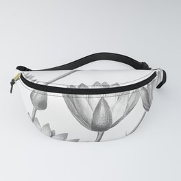 Water Lily Black And White Fanny Pack