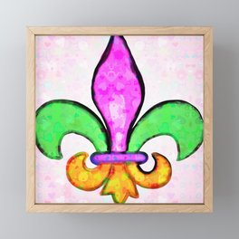 Fleur De Lis Pastel Tiny Love Hearts Framed Mini Art Print