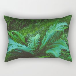 Mystical Green Fern Leaves in the Enchanted Forest Rectangular Pillow
