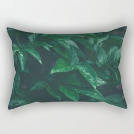 Green Leaves with Water Droplet - Nature Photography Rectangular Pillow