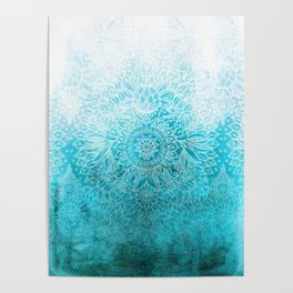 Fade to Teal - watercolor + doodle Poster