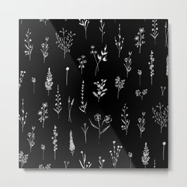 Black wildflowers Metal Print