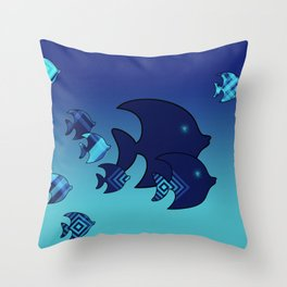 Nine Blue Fish with Patterns Throw Pillow