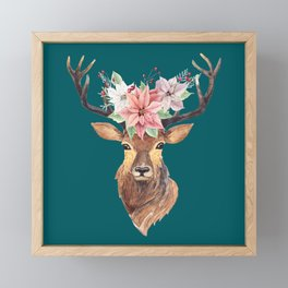 Winter Deer Teal Framed Mini Art Print