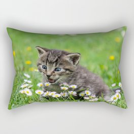 Kitty looking at flowers Rectangular Pillow