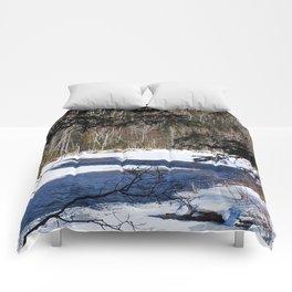 River through Winter Comforters