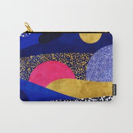 Terrazzo galaxy blue night yellow gold pink Carry-All Pouch
