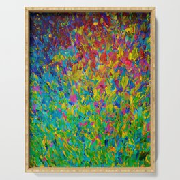 RAINBOW FIELDS - Colorful Abstract Acrylic Painting Ocean Waves Blue Teal Magenta Nature Fine Art Serving Tray