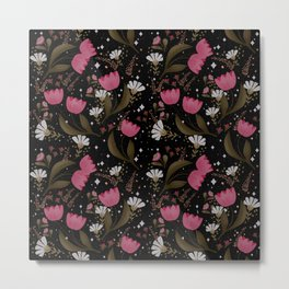 Pink tulips pattern in black background  Metal Print