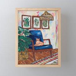 Ginger Cat on Blue Mid Century Chair Painting Framed Mini Art Print