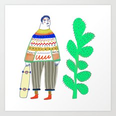 man and cactus. Art Print