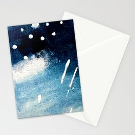Meteor Shower - an abstract acrylic piece in blue and white Stationery Cards