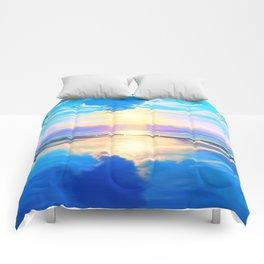 Sunset on the sea Comforters
