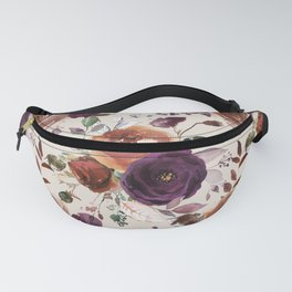 Bohemian orange violet brown watercolor floral pattern Fanny Pack