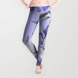 Periwinkle and Gray Floral Leggings
