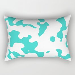 Large Spots - White and Turquoise Rectangular Pillow