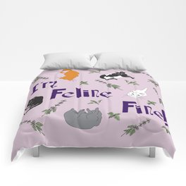 Kitty Cats and Catnip Illustrated Typography Print in Lavender Purple Comforters