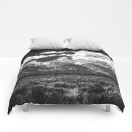 Mountain Summer Escape - Black and White Tetons Comforters