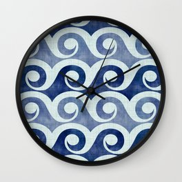 Retro Tropical Beach Waves - Indigo Blue Woodblock Wall Clock