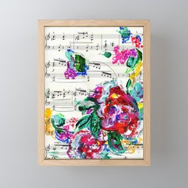 Musical Beauty - Floral Abstract - Piano Notes Framed Mini Art Print