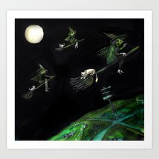 Three Witches on Brooms with the Moon.  Art Print