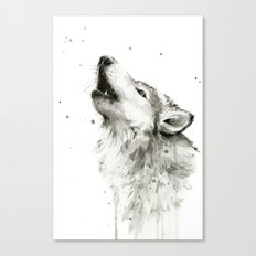Wolf Howling Watercolor Animals Wildlife Painting Animal Portrait Canvas Print
