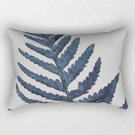 Botanical Indigo Navy Blue Vintage Leaf Fern, Watercolor Wall Art Farmhouse Rustic Country Nature Rectangular Pillow