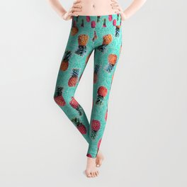 From Pineapple to Pink - tropical doodle pattern on mint Leggings