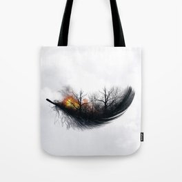 Fire Feather • Black Feather (horizontal) Tote Bag