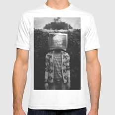 This TV haze sucks me through. I watch the world from the inside MEDIUM Mens Fitted Tee White