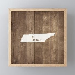 Tennessee is Home - White on Wood Framed Mini Art Print