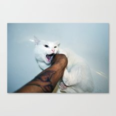 selfportrait with cat Canvas Print