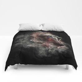 Burning face of man art Comforters