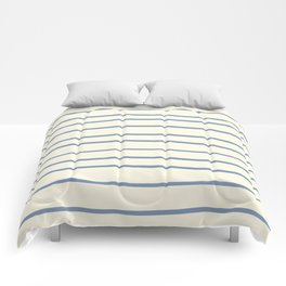 Dusk Sky Blue 27-23 Hand Drawn Horizontal Lines on Dover White 33-6 Comforters