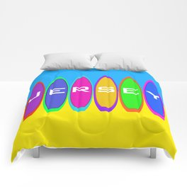 Jersey Surfboards on the Beach Comforters