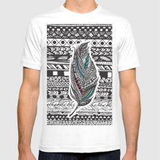Aztec Feather. MEDIUM White Mens Fitted Tee