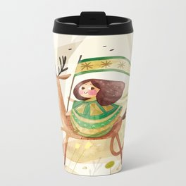 little girl and her deer on their journey Metal Travel Mug
