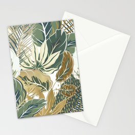 Wild Tropical Prints, Green and Gold Stationery Cards