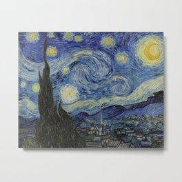 The Starry Night by Vincent van Gogh 1889 // Abstract Brush Stroke Detail Mountains Stars City Scene Metal Print