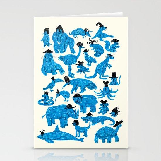 Blue Animals Black Hats Stationery Cards