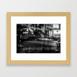 Shibuyacrossing at night - monochrome Framed Art Print