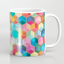 Crystal Bohemian Honeycomb Cubes - colorful hexagon pattern Coffee Mug