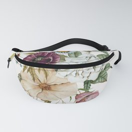 Colorful Wildflower Bouquet on White Fanny Pack