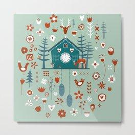 Cuckoo Clock Scandinavian Woodland Forest Metal Print