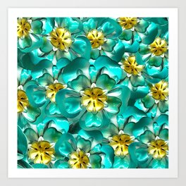 Golden Cyan Greens Art Print