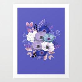 Anemones & Gardenia Blue bouquet Art Print