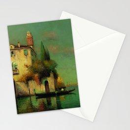 Gondolier à Venise - Venice, Italy landscape painting by Antonie Bouvard Stationery Cards